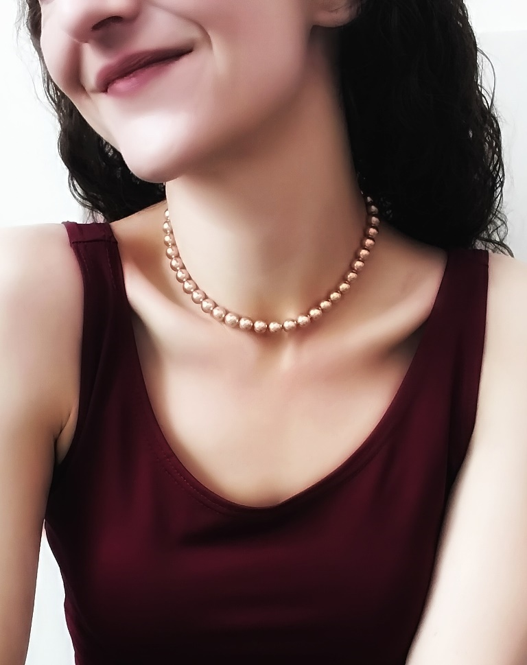 WN24-rose gold pearl necklace single strand