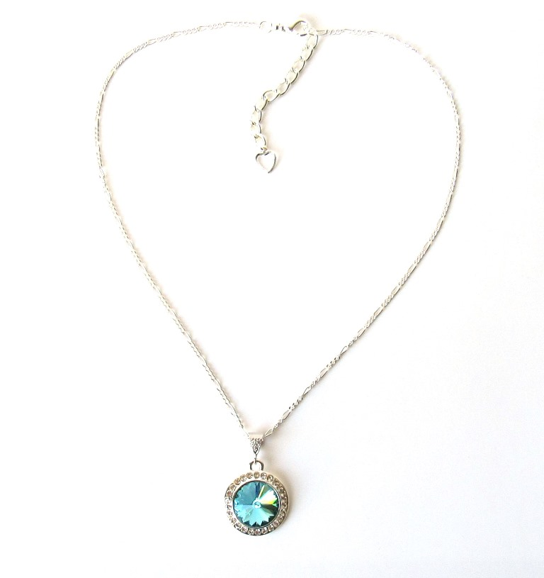 WN32-aquamarine and silver pendant necklace