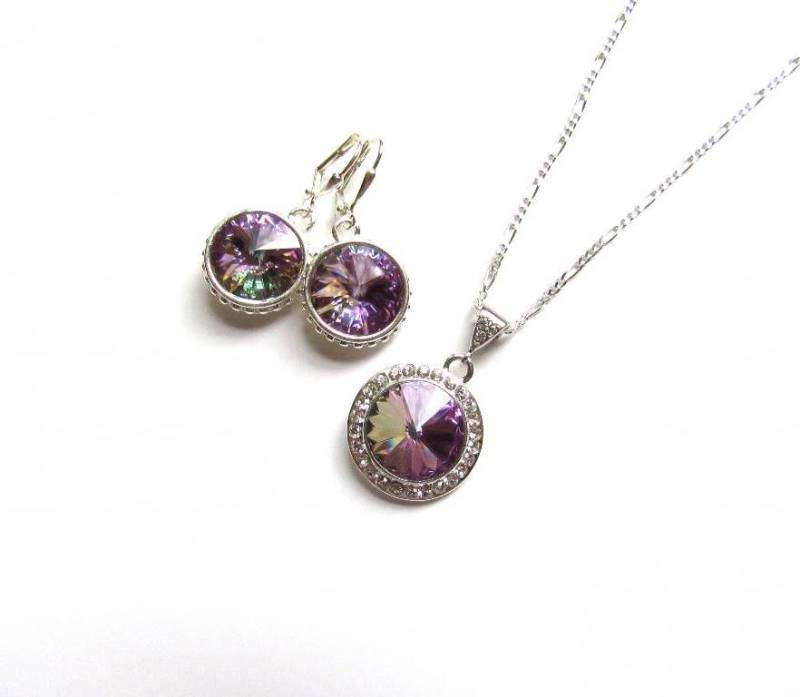 WS14-Swarovski Vitrail Light Crystal Necklace & Earring Set