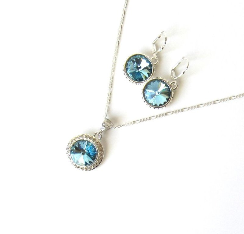 WS15-aquamarine crystal necklace and earring set