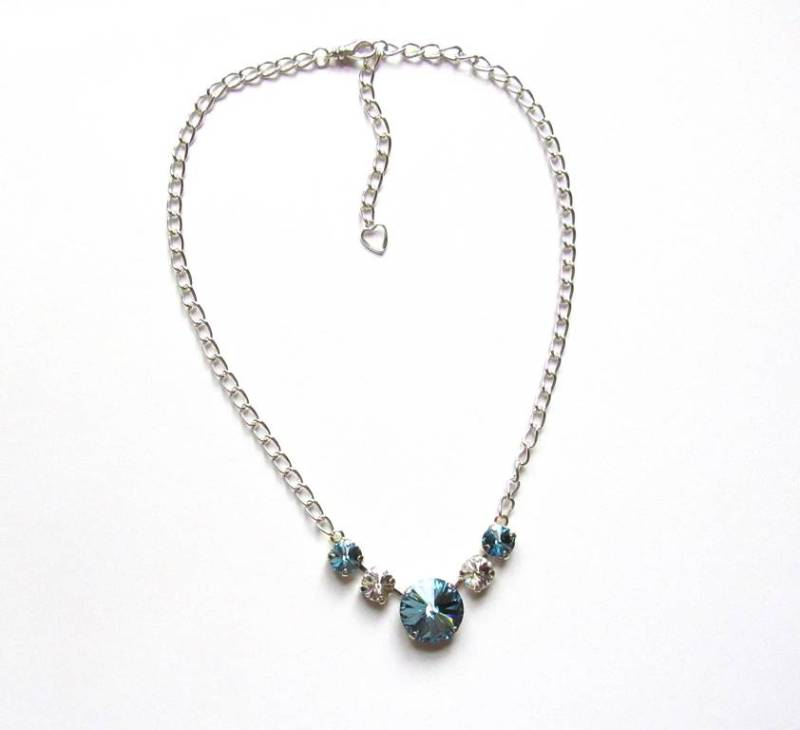 -Swarovski Aquamarine & Clear Crystal Necklace & Earring Set