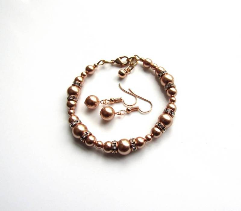 Rose Gold Pearl Bracelet & Earring Set