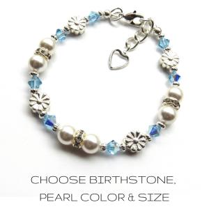GIRLS FLOWER-BSTONE-PEARL-braceleT