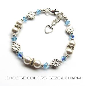 girls birthstone bracelet flower charm bracelet pearl bracelet