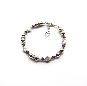 -girls silver birthstone bracelet with daisy flower charms
