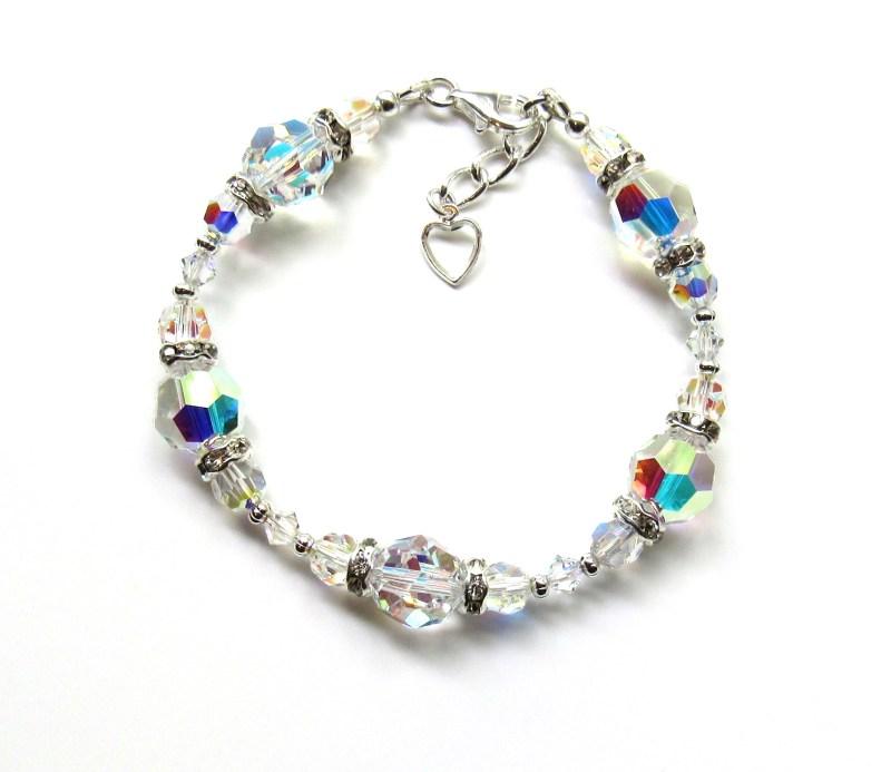 WB23-Swarovski Crystal Bracelet Aurora Borealis Bracelet Wedding Jewelry