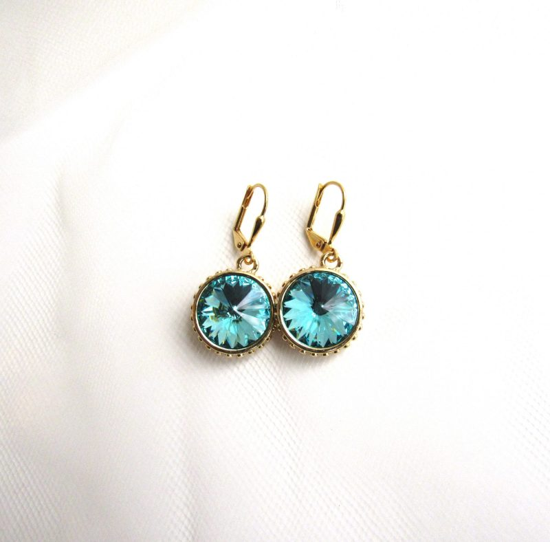 Swarovski crystal Turquoise and gold earrings