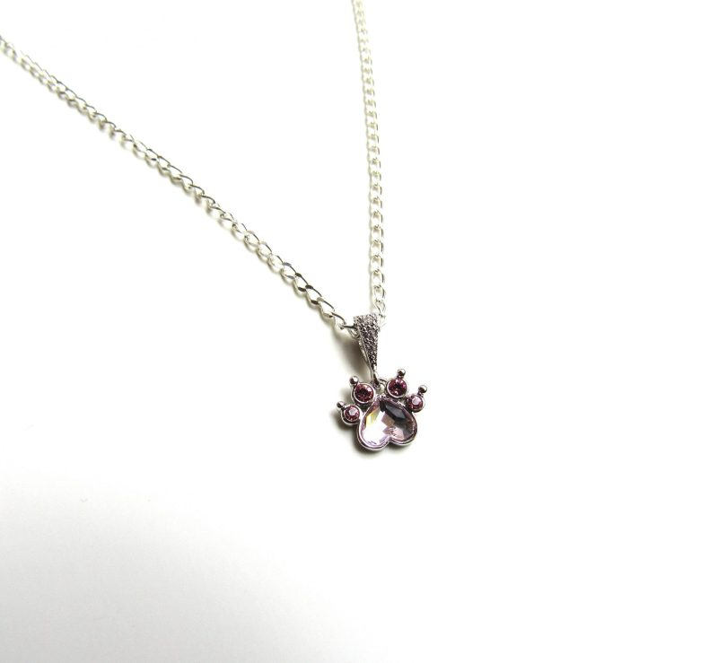 crystal paw pendant necklace sterling silver