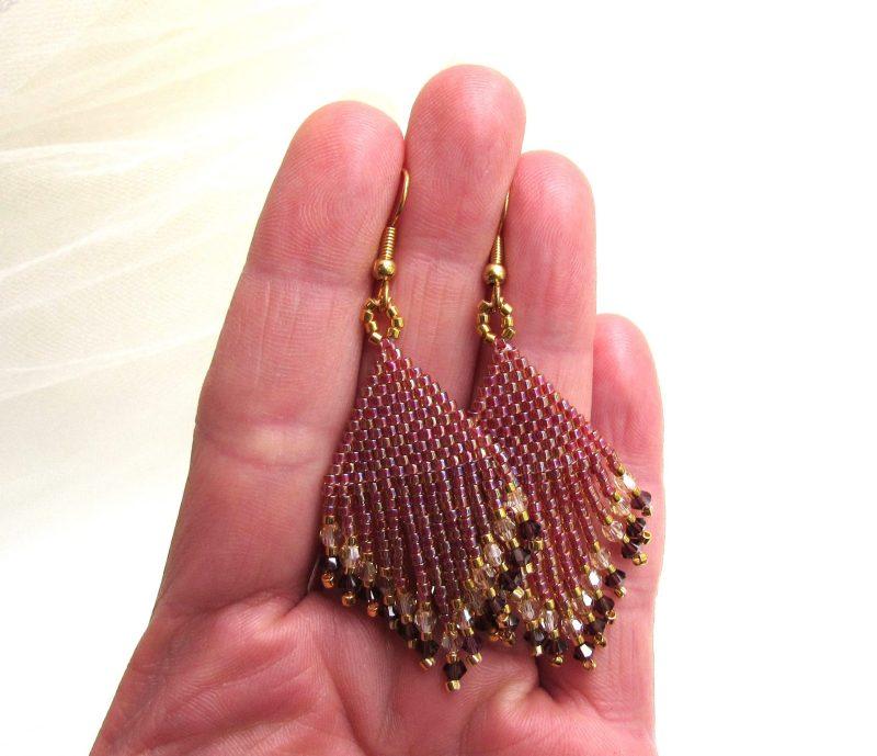 Beaded Fringe earrings handwoven