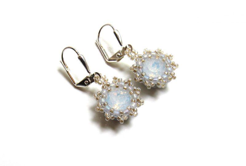 Opal flower earrings