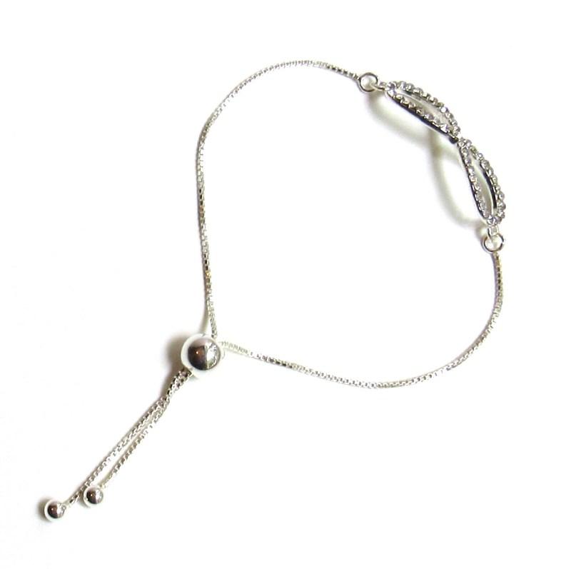 infinity bracelet rhinestone sterling silver