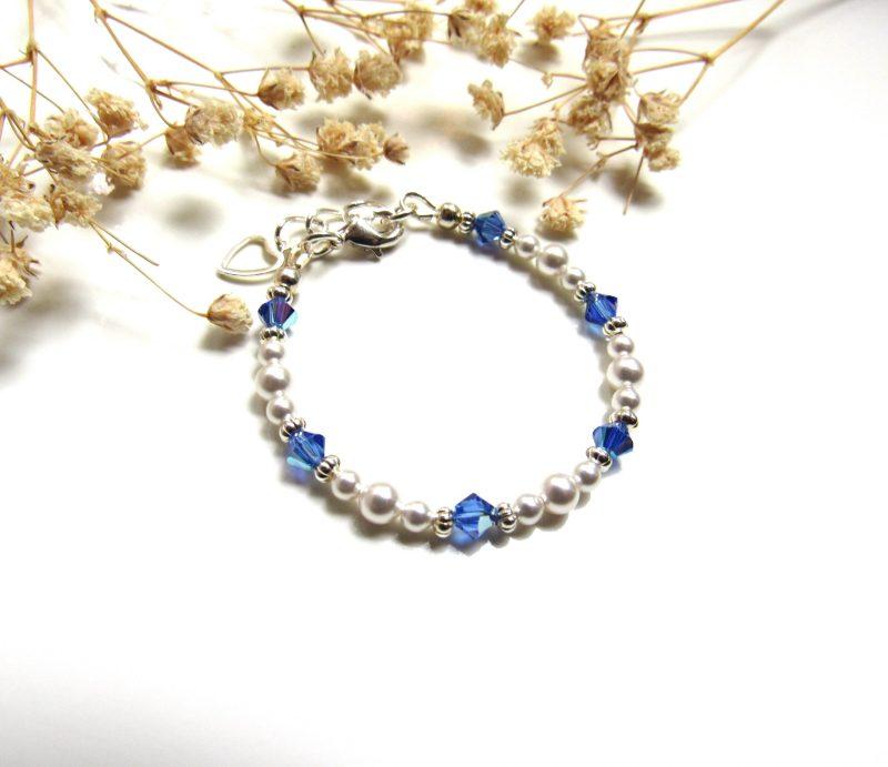 tiny birthstone bracelet pearl for baby girls