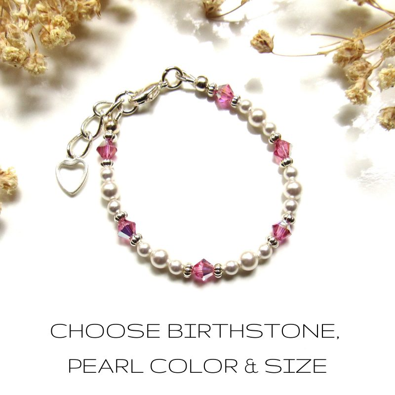 tiny birthstone bracelet pearl for baby girls