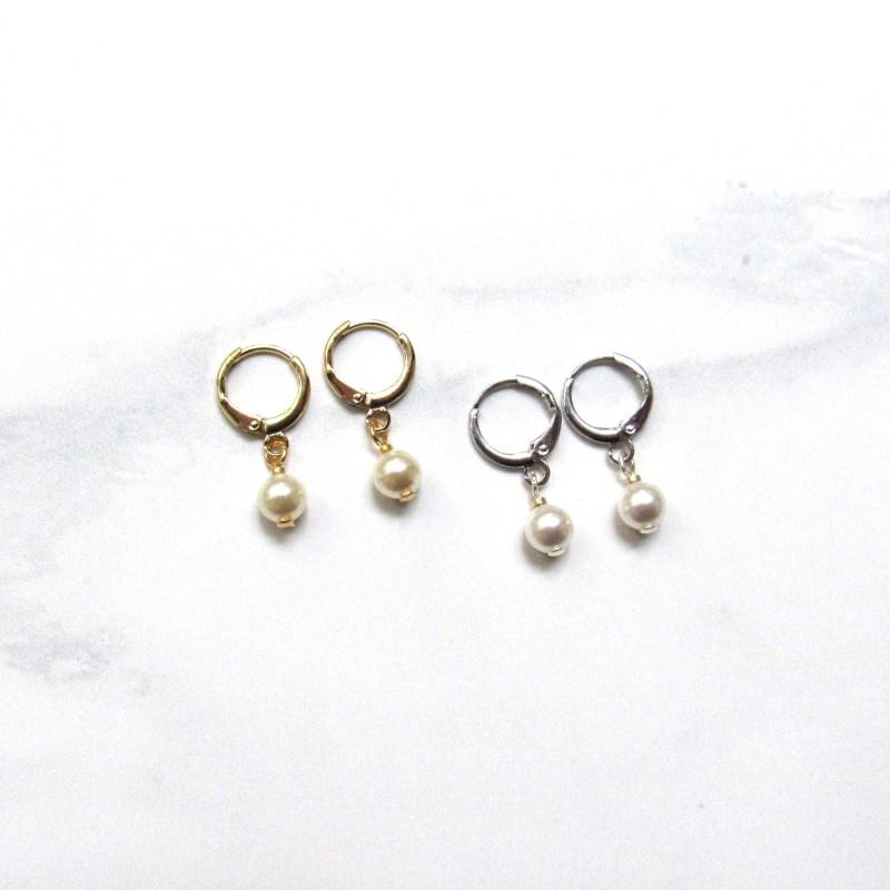 huggie hoops with pearls, pearl hoop earrings