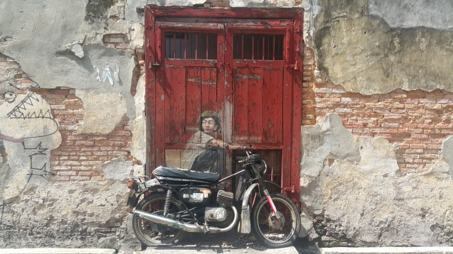 Artworks in George Town motorbike child