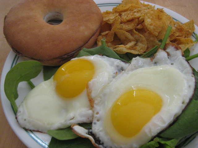 Lunch: Eggs, Bagel Thin, Spinach