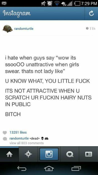 Unattractive When Girls Curse, Guys Scratch Their Balls