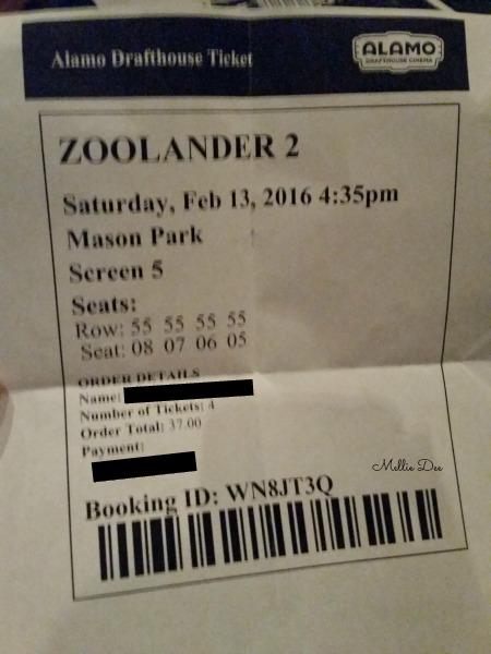 Alamo Drafthouse Zoolander 2