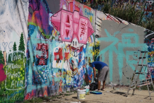 Hope Outdoor Gallery | Austin, Texas | Artist Spray Paints Graffiti Wall