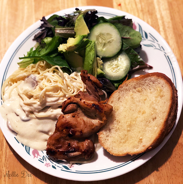 Scruffy and I | Homemade Chicken Fettuccine Alfredo, Salad, and Garlic Bread