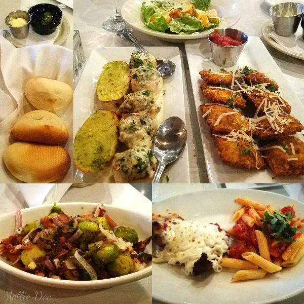 Hasta La Pasta | Katy, Texas | Chicken Parmesan, Stuffed Mushrooms, Brussels Sprouts, Toasted Ravioli, Bread