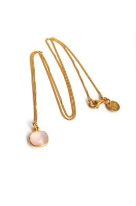 atn1024_Cushion necklace gold- rose quartz