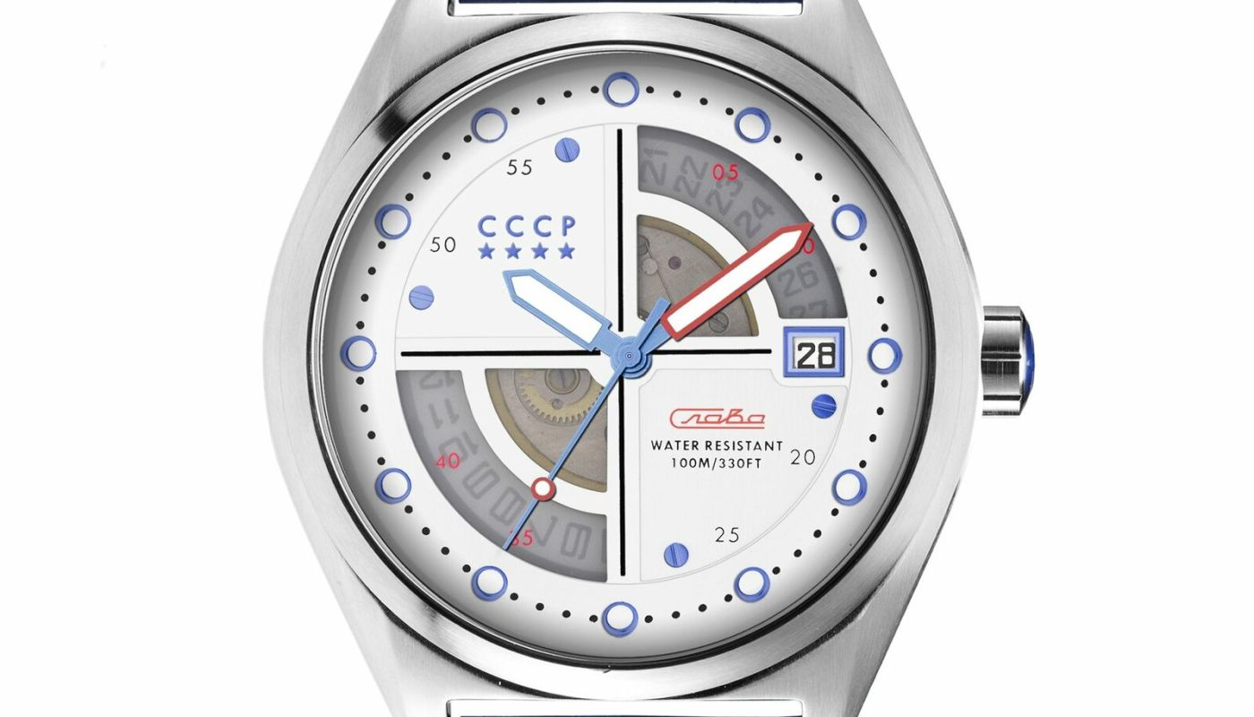CCCP Men's CP-7031-04 43mm White Dial Leather Watch
