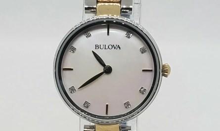 EXCELLENT BULOVA 98P146 TWO TONE DIAMONDS FACE WOMEN'S WATCH 28MM CASE