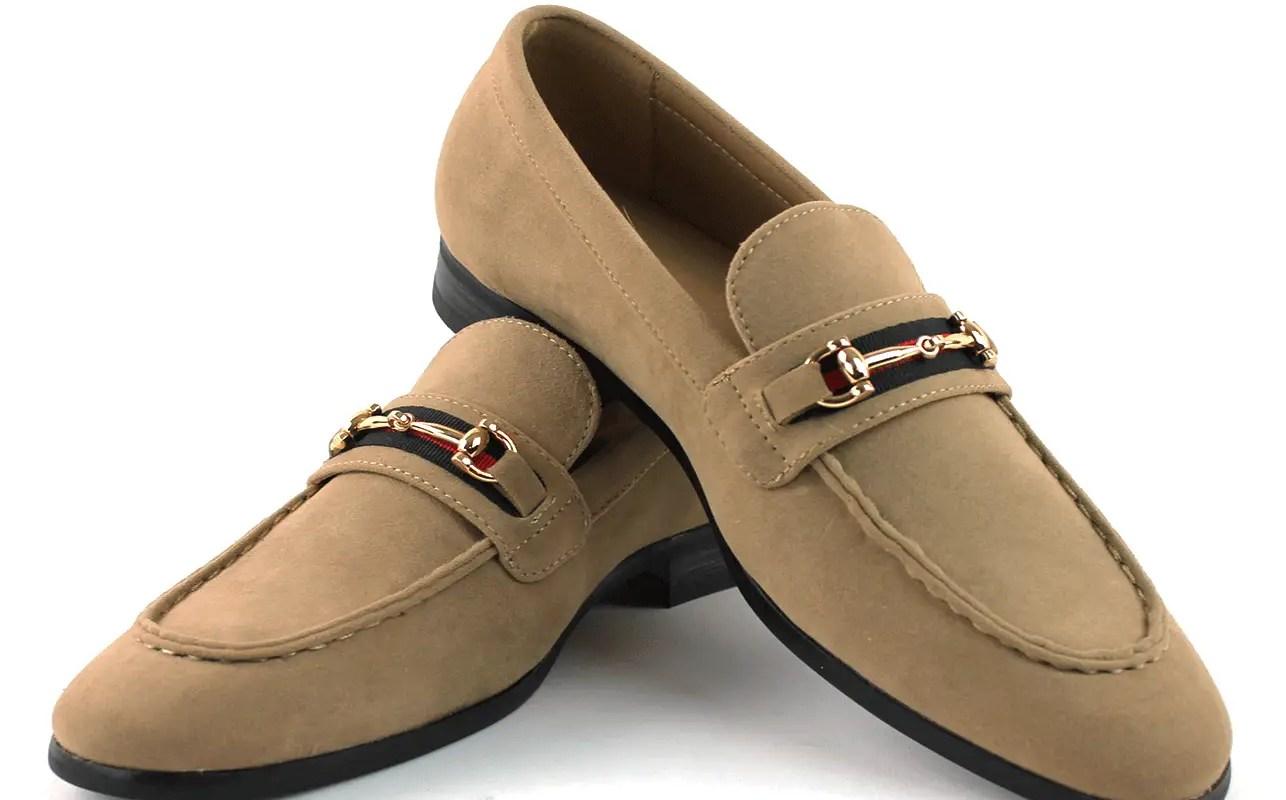 Men's Tan Suede Dress Shoes Slip On Loafers Gold Buckle Formal Wedding AZAR MAN
