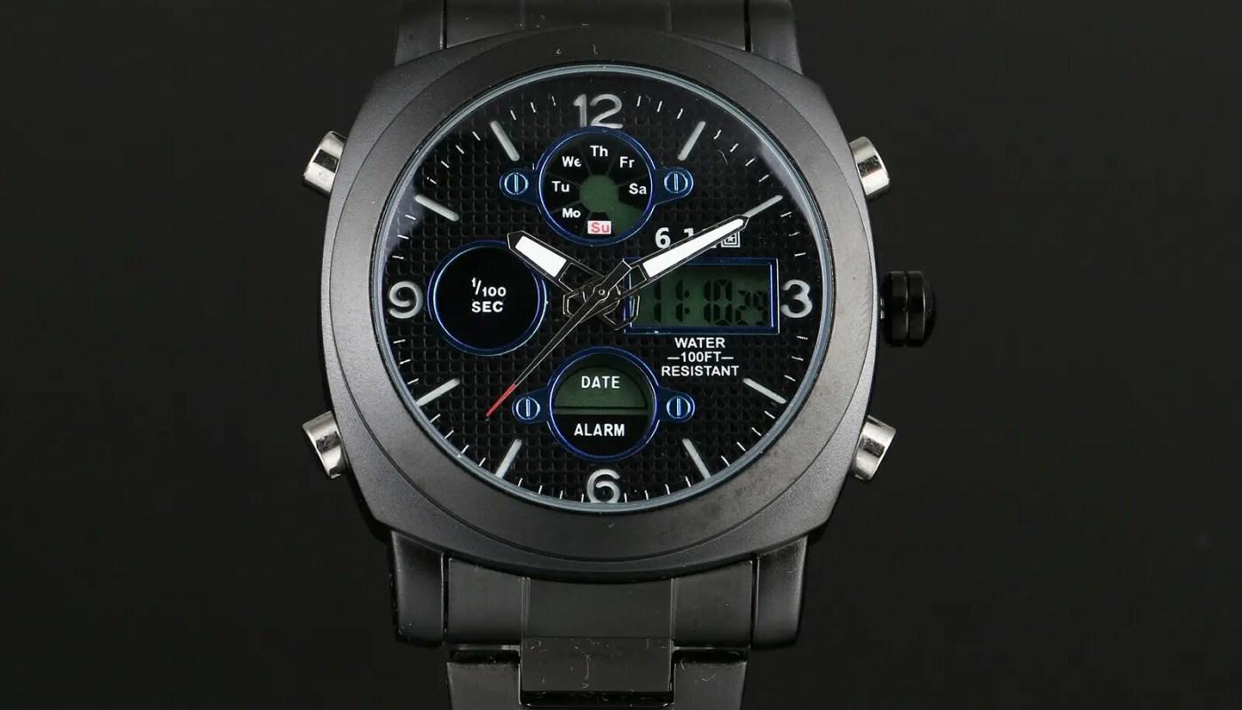 Mens Watch Quartz Digital Black Dial Stainless Steel Band Analog Display Luxury