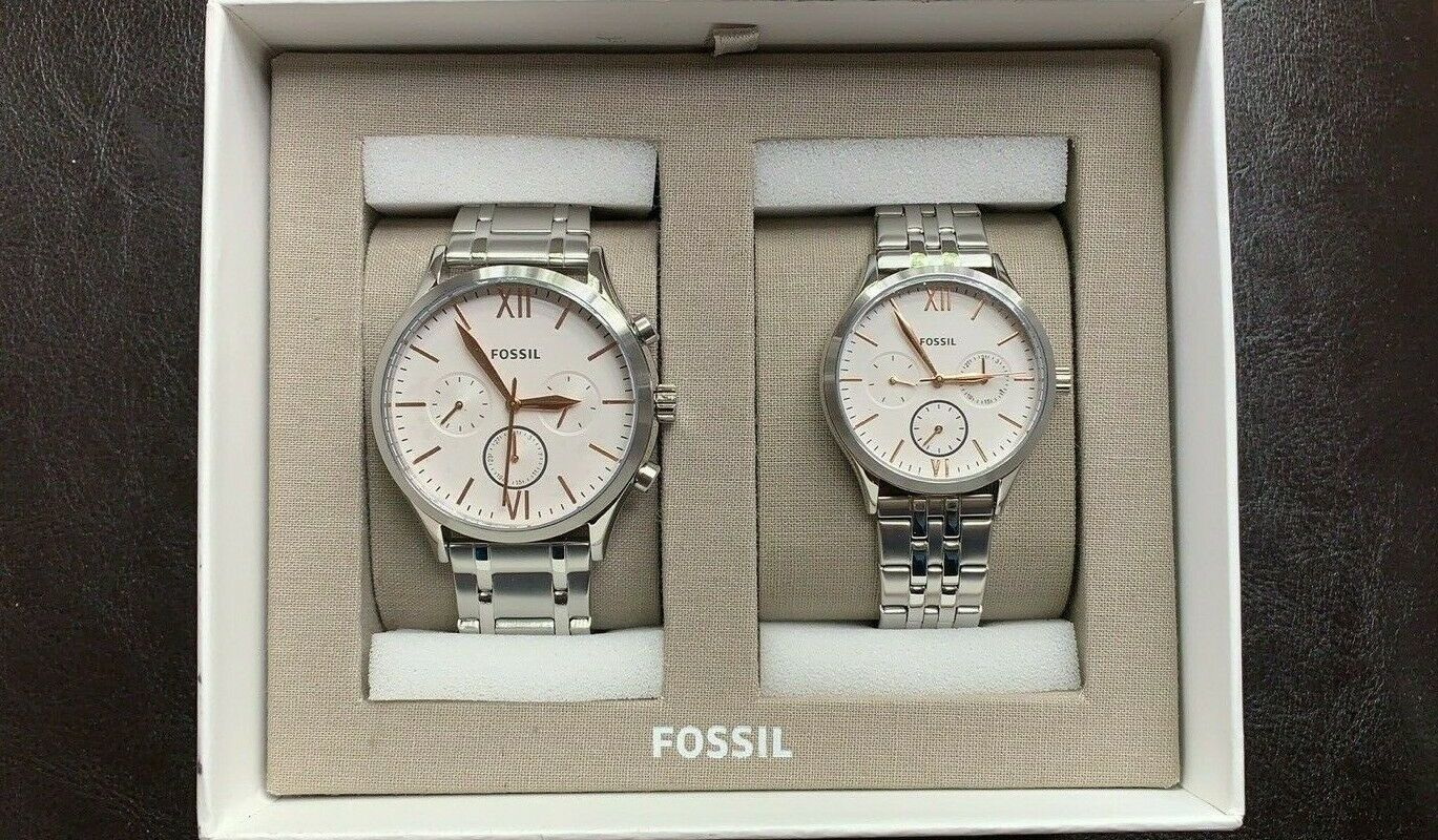 New Fossil Couple Watch His and Her Fenmore Stainless Steel Gift BQ2468SET