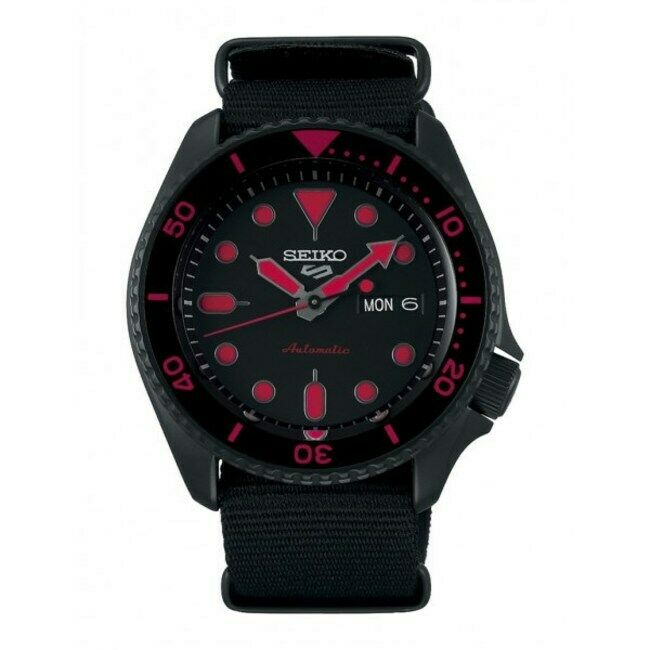 New Seiko 5 Automatic Black Dial Fabric Strap Men's Watch SRPD83K1