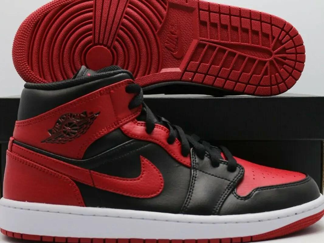 "Nike Air Jordan 1 Mid ""Banned"" Red Black 554724-074 Men's & GS Sizes 1-13"