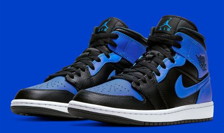 Nike Air Jordan 1 Mid Shoes Black Hyper Royal White 554724-077 Men's Or GS NEW