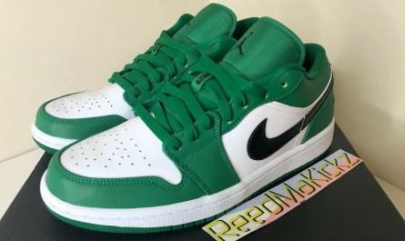 Nike Air Jordan 1 low Pine Green White Mens 553558 301