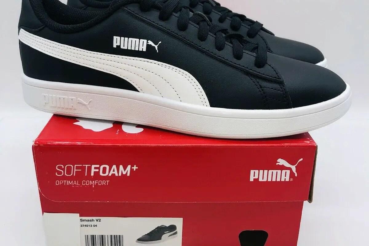Puma Men's Smash V2 Leather Tennis Lace Up Shoes - Black