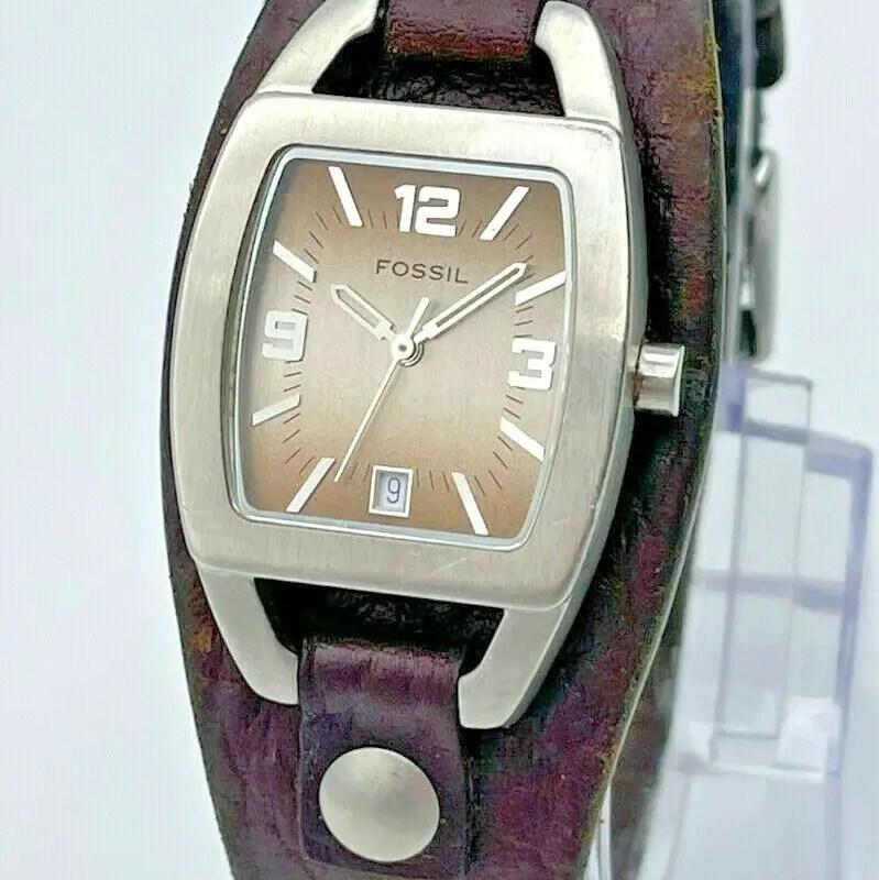 Women's FOSSIL Silver Tone, Wide Brown Leather Cuff Watch, Quartz, Analog, Date