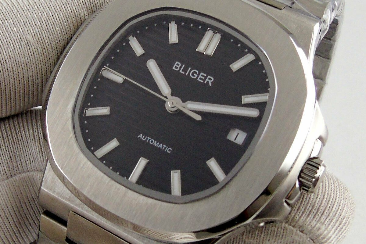 square 40mm bliger black dial sapphire date Miyota 8215 automatic mens watch