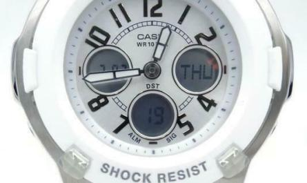 New Casio Baby-G Women White Silver Digital-Analog Chrono Watch BGA110-7B $99
