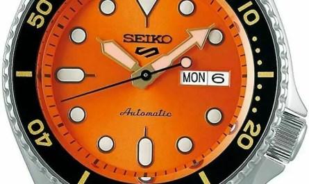 Seiko 5 Sports 24-Jewel Automatic Watch Stainless Steel- Orange
