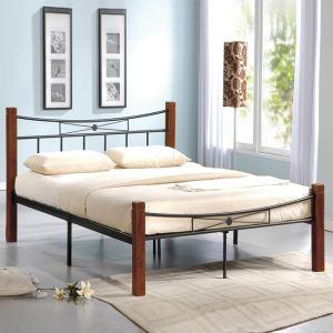 FLORA κρεβάτι διπλό Μέταλλο μαύρο/Ξύλο καρυδί