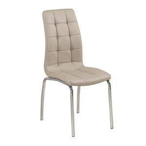 MELVA καρέκλα Χρώμιο/PU Cappuccino