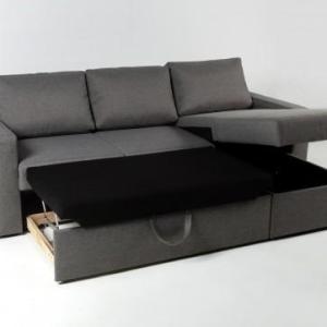Γωνιακός καναπές κρεβάτι με αποθηκευτικό χώρο SOFIA 225×150εκ. Γκρι Σκούρο