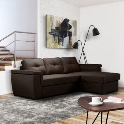 Cayenne Γωνιακός καναπές κρεβάτι 249×160εκ. με αποθηκευτικό χώρο Καφέ
