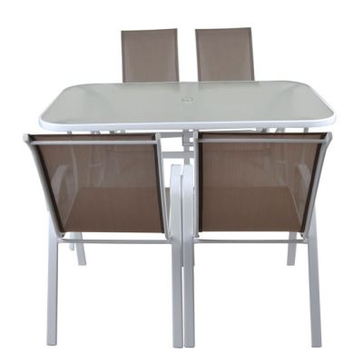 RIO Set (Τραπέζι+4 Πολυθρόνες) Μεταλ.'Ασπρο/Textil.Cappuccino