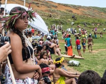 Pendant le triathlon Rapa Nui du Tapati