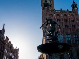 Gdansk, la vieille ville : la fontaine de Neptune