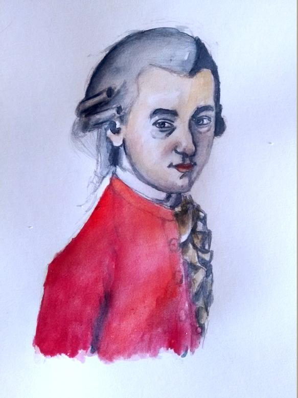 Illustration de Mozart à l'aquarelle, Assilem décors, peintre en décor Bordeaux, décoration intérieure, peintre décoratrice