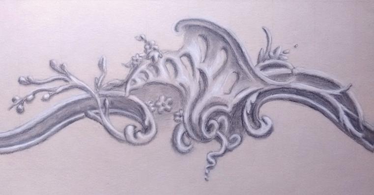 Grisaille ornement Louis XV, crayons gris et pastels, Assilem décors, peintre en décor Bordeaux, décoration intérieure, peinture décorative
