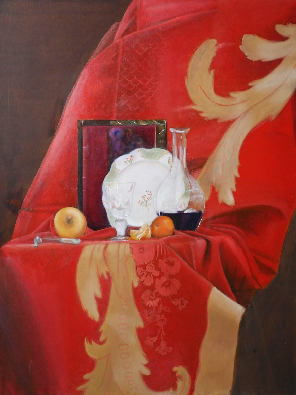 Décor nature morte trompe l'oeil d'intérieur, huile. Assilem décors, peintre en décor Bordeaux, décoration intérieure, peintre décorateur